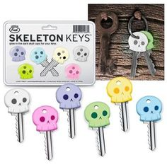 Fred & Friends Skeleton Cool Chimp Rubber Key Cap Covers Toppers Five 5 Color Keychain