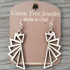 THE TRIANGULAR laser-cut wood earrings Green Tree Jewelry NATURAL geometric 1197 #GreenTreeJewelry #DropDangle