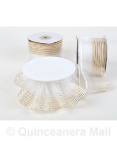 "Quinceanera Mall - 2.75"" Organza Pull Ribbon - 25 Yds #RIB34"