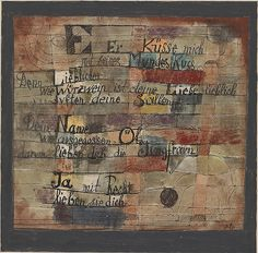 Klee -  (From the Song of Songs) Version II, 1921. Ink and watercolor on paper, with watercolor on cardboard mount. 16,2 x 17,4 cm. Solomon R. Guggenheim Museum, New York. 48.1172.535.