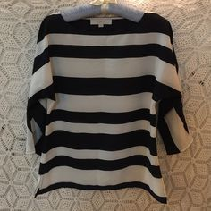 LOFT Striped Boatneck Top Light weight and airy, blousy top! Navy and white. Perfect condition. 24 inches long, 34 bust. LOFT Tops Blouses