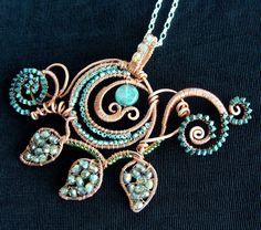 Brilliant Spiraling Vine Necklace - crystal, copper, quartz. $225.00, via Etsy.