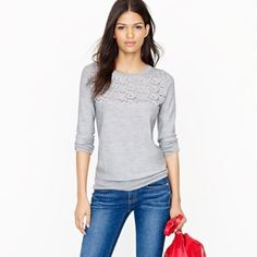 {NWT J. CREW} Lace Front Merino Wool Tippi Sweater Brand new with tag still attached! Perfect new condition. Smoke free home. J. Crew Sweaters Crew & Scoop Necks