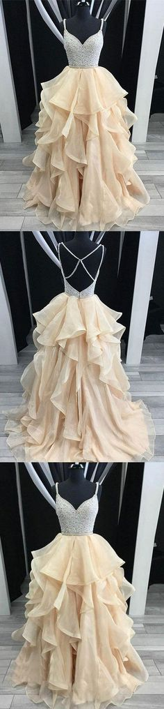 Unique champagne tulle sequin long prom dress, champagne evening dress, M1293#prom #promdress #promdresses #longpromdress #promgowns #promgown #2018style #newfashion #newstyles #2018newprom #eveninggown #champagne #tulle #sequin #eveningdress #homecomingdresses