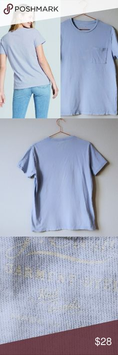 """J CREW Garment-Dyed Tee J.Crew T-shirt of light blue cotton-jersey that's garment-dyed for an authentically broken-in feel.  Fits true to size for a men's small, fits like a women's medium.  Bought at J.Crew's flagship factory store in Lynchburg VA. Not """"made for the outlet.""""  Tiny pinprick hole near bottom & along side hem (see photo) and light fading near pocket (priced accordingly). Otherwise pristine.   So soft & comfortable. Color """"Fresh Peri."""" J. Crew Tops Tees - Short Sleeve"""