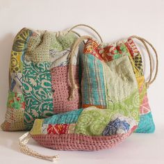 RESERVED for Karen Drawstring bag patchwork kantha red pnk greens blues 19 x Fabric Bags, Fabric Scraps, Fabric Basket, Sacs Tote Bags, Boro Stitching, Japanese Embroidery, Patchwork Bags, Handmade Bags, Handmade Fabric Purses