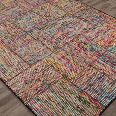 Hand-Woven Recycled Material Rug