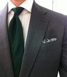 Mid grey suit, white shirt, green grenadine tie...InwardStyle Approved!!
