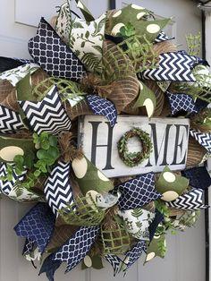 Home Rustic Burlap Deco Mesh Wreath, Welcome Wreath – Spring Wreath İdeas. Christmas Mesh Wreaths, Deco Mesh Wreaths, Door Wreaths, Ribbon Wreaths, Spring Wreaths, Yarn Wreaths, Winter Wreaths, Floral Wreaths, Summer Wreath