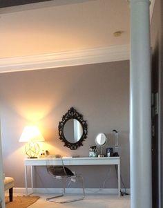 Besta Burs turned makeup Vanity....Luv my new space...IKEA Hack!!! Tobias chair and ikea mirror used as well :)