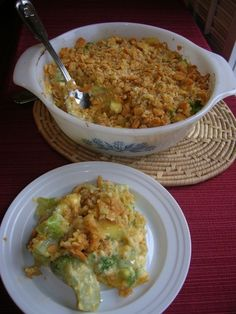 BROCCOLI CASSEROLE - cream cheese melted with cheddar instead of velveeta & grated Parm instead of ritz