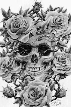 skull and rose tattoos - Google Search