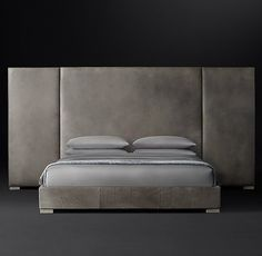 Non-Tufted Extended-Headboard Leather Platform Bed