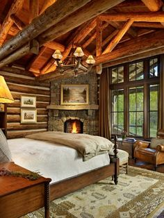 From kitchens to living rooms and beyond, discover inspiration with the top 60 best log cabin interior design ideas. Explore cool mountain retreat homes. Log Home Bedroom, Log Cabin Bedrooms, Log Cabin Homes, Cozy Bedroom, Bedroom Decor, Rustic Bedrooms, Bedroom Ideas, Log Cabins, Bedroom Romantic
