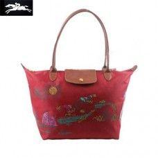 Cheap Longchamp Autour De Ha Long Tote Bags Red