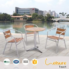Circular outdoor garden cafe furniture plastic wood aluminum chairs and tables for sale