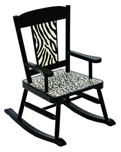 Cheetah and zebra prints in black and ivory Special understamp beneath the seat that the customer can personalize with the child's name, the name of the gift-giver and the special occasion when the ch