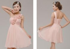 One Shoulder Knee Length Ruffles Bridesmaid Dress Prom A-Line Wedding Dresses | Buy Wholesale On Line Direct from China
