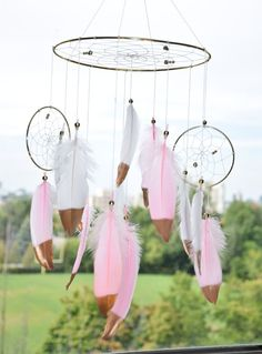 Baby Girl Nursery Mobile Gold Pink and by FeatherDreamcatchers