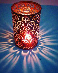 Luminary, lantern, metal candle holder, welded art. 4 inch Scallop pattern. by ManifestStnStudio on Etsy