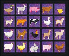 20 Farm Animals Quilt Block Patterns Cows Sheep Chickens Quilt Block Patterns, Pattern Blocks, Quilt Blocks, Farm Animal Quilt, Animal Pictures For Kids, Foundation Paper Piecing, Girls Quilts, Unique Animals, Animals Images