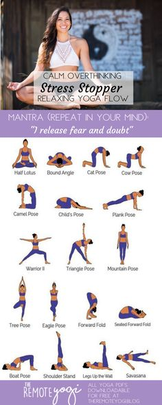 """Yoga lifestyle 185492078391196740 - """"I release fear and doubt"""" – repeat this mantra as you flow through this stress reducing yoga. Calm your nerves and fill yourself with a deep relaxation. Source by theremoteyogi Yoga Flow Sequence, Yoga Sequences, Yoga Poses, Night Yoga, Morning Yoga, Deep Relaxation, Relaxing Yoga, How To Stop Stress, Sport"""