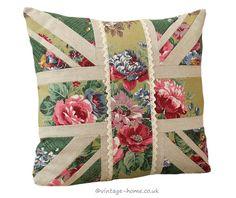 Vintage Home Shop - 1930s Floral Barkcloth and Linen Union Jack Cushion: www.vintage-home.co.uk