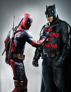 Deadpool and Batman Deadpool Art, Deadpool Funny, Deadpool Stuff, Deadpool Costume, Deadpool Movie, Deadpool Wallpaper, Dead Pool, Captain America, Wade Wilson