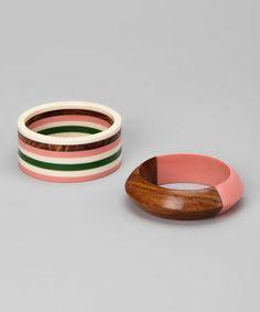 Look what I found on #zulily! Pink Zea Bangle Set #zulilyfinds