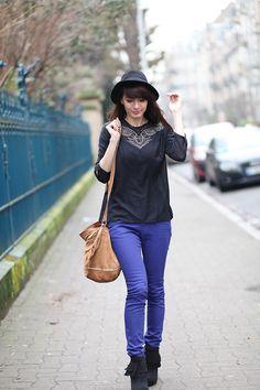 Pantalon bleu boots noires