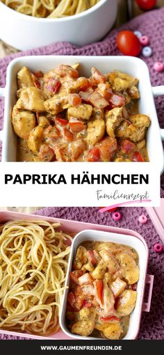 Schnelle Hähnchen-Paprika-Pfanne - ein einfaches Familienrezept Pepper and chicken pan with tomatoes, basil and wholemeal pasta - a delicious family recipe and ideally suited for meal prep - a food bl Clean Eating Recipes, Lunch Recipes, Healthy Dinner Recipes, Vegetarian Recipes, Easy Family Meals, Quick Easy Meals, Pasta Integral, Le Diner, Healthy Chicken Recipes