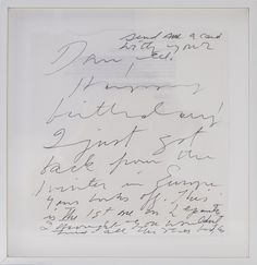 Cy Twombly, Letter, ca. 2001