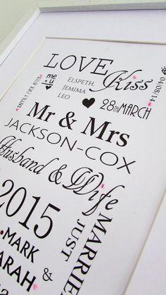 Personalised Classic Wedding Print #wedding #marriage #gift #keepsake www.wowlovethis.co.uk