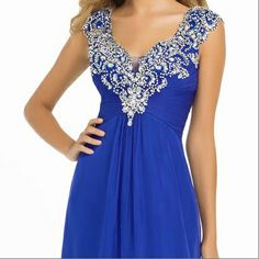 Sapphire dress with crystals and beads.