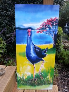 PUKEKO Bird with POHUTUKAWA OUTDOOR Wall Art Panel New Zealand,  Garden Art, Patio Art, Bird Art, from original Silk Painting, weatherproof by KaySatherleyArt on Etsy Outdoor Wall Art, Outdoor Walls, Nz Art, Bird Paintings, Art Folder, Panel Wall Art, Silk Painting, Bird Art, Art Journals