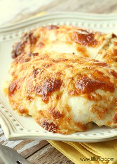 Delicious and Creamy Swiss Chicken Bake recipe - a favorite! { lilluna.com }