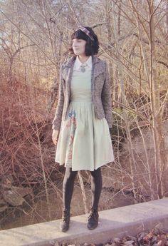 vintage dress, fitted jacket, headband - Mountain Mod