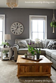 Modern Country Home Tour: Spring 2019 - Town & Country Living Modern living room decor ideas 2020 Country Style Living Room, Country Style Homes, Town And Country, Home Living Room, Living Room Designs, Living In The Country, Living Room With Gray Walls, Country Living Room Rustic, Country Family Room