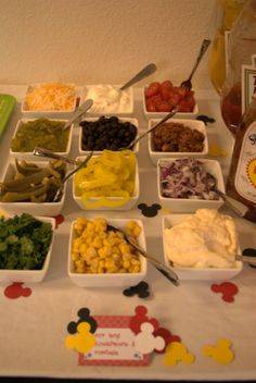 Hot dog bar toppings for Owen's third birthday party. Mickey birthday Party.