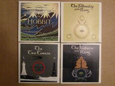 Set of FOUR Lord of the Rings/Hobbit Coasters by ItsNerdtastic, $15.00- So would anyone like to get this for me for Christmas???