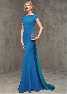 8a9bb403d7e0 Elegant Stretch Satin   Chiffon Bateau Neckline Mermaid Evening Dresses  with Bowknot Róby Na Školní Ples