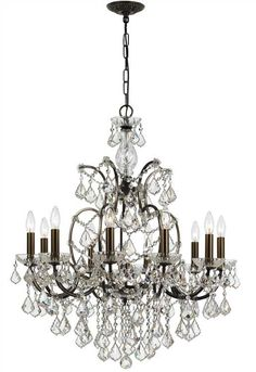 Crystorama 4458-VZ-CL-MWP Filmore 10 Light Clear Crystal Bronze Chandelier