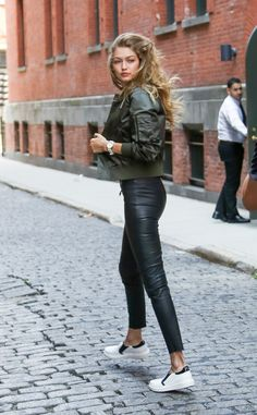 military green jacket + leather pants + white sneakers