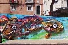 found material installation by Bordalo in Lisbon, Portugal, 5/15 (LP)