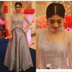 Nayra - Shivangi Joshi In Grey Lehenga Indian Designer Outfits, Indian Outfits, Designer Dresses, Ethnic Outfits, Stylish Dresses, Fashion Dresses, Lehnga Dress, Anarkali Lehenga, Bollywood Lehenga