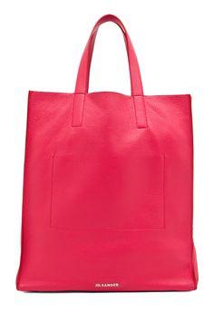 jil sander paper bag tote in lipstick