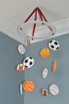 Sports Nursery Mobile - Soccer Baseball Football Basketball  -  by FlutterBunnyBoutique