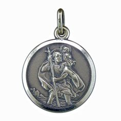 Saint christopher pendant solid sterling silver 18mm round st st christopher pendant silver antique finish st christopher pendant and chain sn360 aloadofball Choice Image