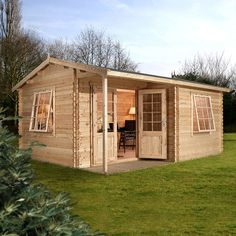 Buy Home Office Executive Double Glazed Wooden Log Cabin, from our Log Cabins range - Tesco Log Cabin Sheds, Diy Cabin, Small Log Cabin, Log Cabin Kits, Cabin Plans, Shed Plans, House Plans, Log Cabins, Prefab Cabins