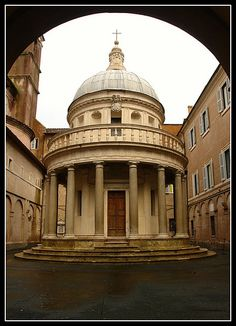 Tempietto - Bramante    Located in the courtyard of the church of San Pietro In Montorio, Bramante's Tempietto is considered to be the first true renaissance building in Rome. The church is built on the site where St. Peter was believed to be crucified. Steps in the back lead to a wonderful little crypt.